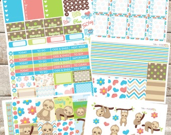 SLEEPY SLOTHS Planner STICKERS Individual Sheets sized for the Erin Condren Life Planner