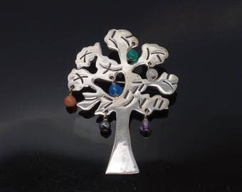 Family Tree Brooch Sterling Silver Beaded Gemstone SK Designer Tree of Life Pin