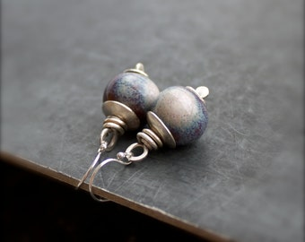 Ceramic Drop Earrings - Blue, Brown, White Earthy Dangle, Sterling Silver, Ceramic Boho Jewelry