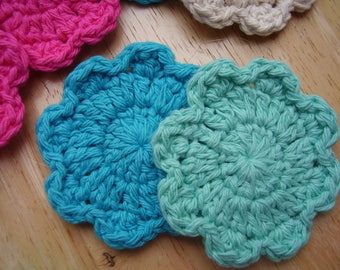 6 Flower Facial Scrubbies, Assorted Color Sampler,  100% Cotton, Facial Cleansing Pad, Reusable Cotton Rounds, Makeup Remover, Coaster