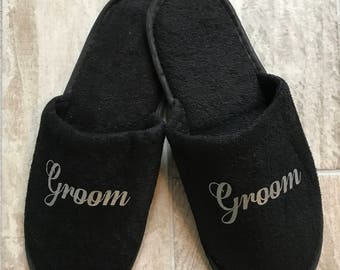 mens slippers, bestman slippers, black slippers, groom slippers, best man slippers, spa slippers, hotel slippers, personalised