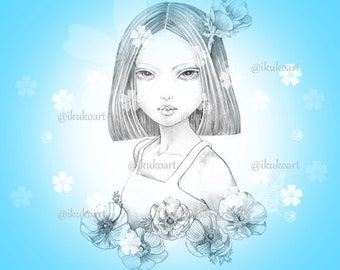 Anemone Girl - Grayscale Art Digital Stamp Image Adult Coloring Page Printable Instant Download