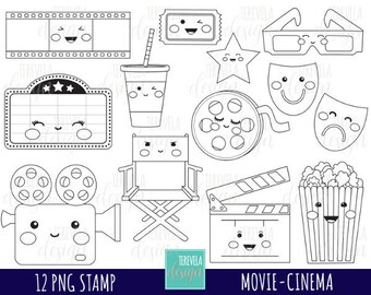 50% SALE CINEMA digital stamps, MOVIE digi stamps, commercial use, movie coloring page, kawaii clipart, movie graphics