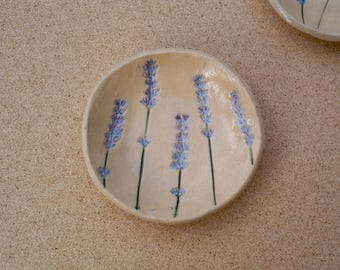 Lavender ceramic dish (small) - Trinket holder with lavender flowers - Small pottery candy tray - Handmad  Stoneware dessert ish