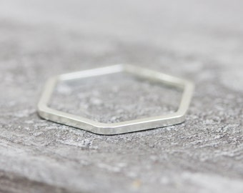 Simple hexagon - modern ring, Sterling silver stackable ring