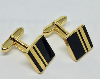 Onyx Cufflinks gold plated