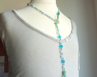 Necklace blue and snow form are polished glass beads
