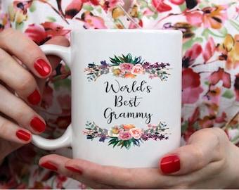 World's best grammy, worlds best grammy mug, coffee mug, grammy mugs, gift for grammy, floral grammy mug, floral mug, gift for grammy