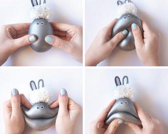 3pcs , grey bunny, seal and reindeer