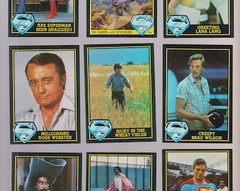 Lot of 9 Superman III movie trading cards, like new condition, Pub. 1983
