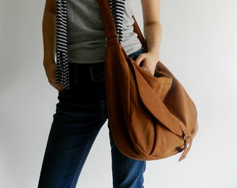 Brown Cognac canvas Messenger bag, Shoulder bag,Diaper bag, Cross body purse,bag ,Gift for her,School Bag /Sale 25%  / - no.12 KYLIE
