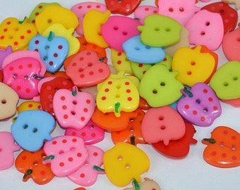 20 buttons 20mm Strawberry multicolored sewing notions new scrap