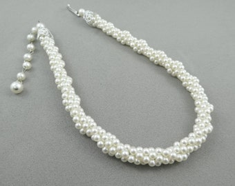 Vintage, Faux Pearl, Twist Necklace, White Beads, Made in Japan