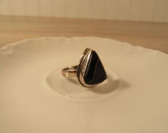 Sterling silver ring with black druzy quartz stone- size 8 1/4- FREE SHIPPING-triangle shape stone in sterling setting- gift for her