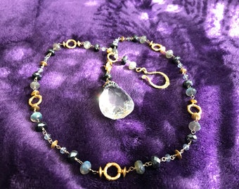 Cool Modernist Sterling Silver Gold Wash Glass & Grey Bead Necklace