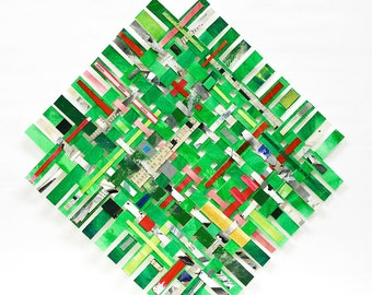 Green Paper Weaving- 10x11- Mixed Media Watercolor, Collage- Woven Paper-  Geometric, Modern- Bright Colors
