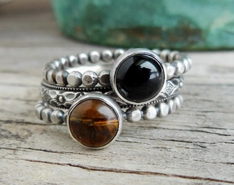 Stackable Rings, Black and Brown - Sterling Silver Gemstone Rings - Black Onyx and Tiger eye Stacking Rings