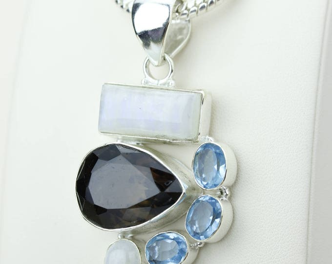 Smokey Topaz Moonstone Swiss Blue Topaz 925 S0LID Sterling Silver Pendant + 4MM Snake Chain p4189