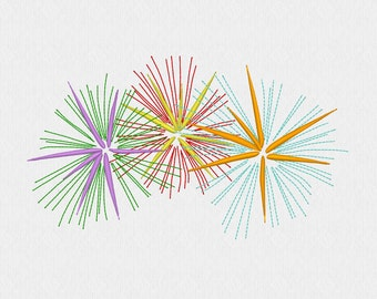 Three Fireworks machine embroidery design file