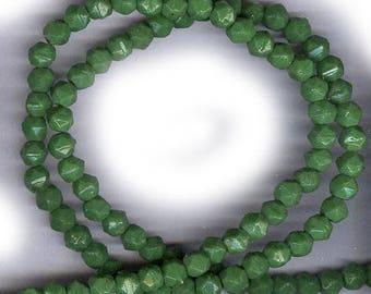 vintage beads ENGLISH CUT glass GRASS green antique glass beads 50 beads 4mm glas beads