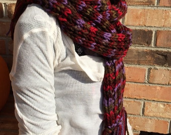Traditional Tasseled Scarf, Tri or Bi Color Options