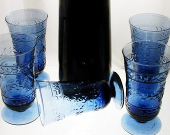 Cobalt Blue Glass Tumblers 24 Ounce Embossed Aztec
