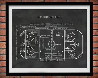 Ice Hockey Rink Diagram Vers #2 - Hockey Art Print - Hockey Player Decor - Hockey Poster - Hockey Gift - Hockey Patent