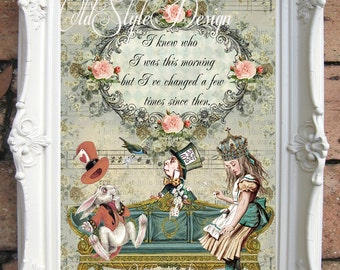 ALICE in WONDERLAND Decor. Art Print. Alice in Wonderland Art Print. Shabby Chic Decor. Alice Wall Art.Tea Party. Mad Hatter quotes C:A023