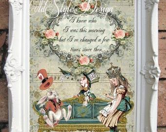 ALICE in WONDERLAND Decor. Shabby Chic Decor. Alice in Wonderland Quote Print. Vintage Alice Wall Art.Tea Party. Shabby Wall hanging C:A023