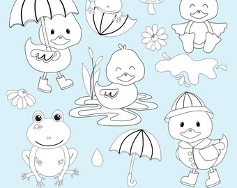 Duck Digital Stamps, Frog Digital Stamps, Digi Stamps, Spring Clipart, April Showers Clipart, Printable, Commercial Use