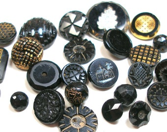 24 Antique glass BUTTONS, Victorian & vintage black glass. Shabby chic.