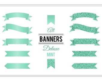 Banner Clip Art 'Deluxe Mint' Glitter Digital Banners for Wedding Invitations, Cards, Scrapbooking, Printable Art, Crafts, Collages...