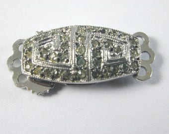 Art Deco Silver Paste triple row Clasp 2.9g