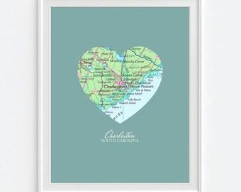 Charleston South Carolina  Heart Vintage Map ART PRINT, Charleston SC art map print, gift for couple,wedding gift, Christmas gift for her