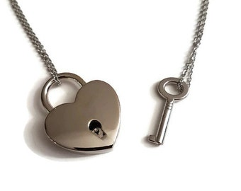 lock and key locket necklace, couples jewelry, heart lock and key necklace, lock and key jewelry, his and her, couple gift, padlock necklace