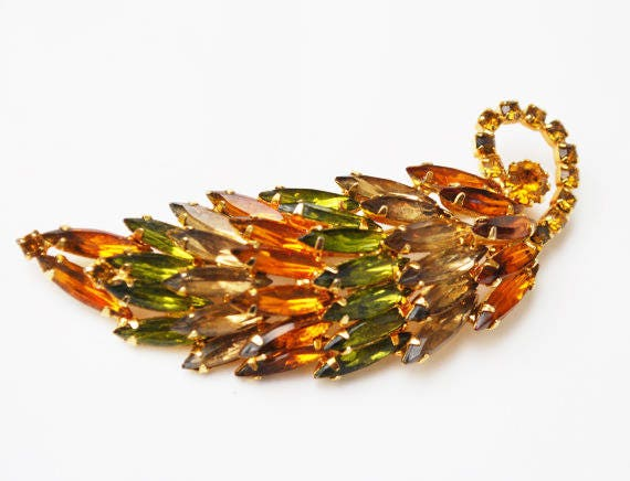 Rhinestone leaf Brooch -Juliana  style - Autumn Color  Orange Earthtone  brown green crystal Navette stones  - domed pin