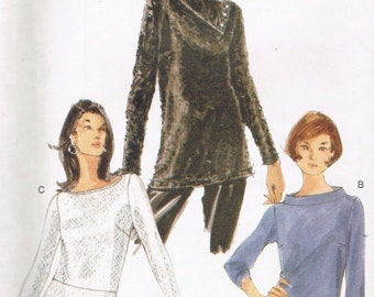 Size 6-10 Misses' Easy Top Sewing Pattern - Fold Over Collar Tunic Top - Boat Neck Top - Long Sleeve Top - Vogue 9949