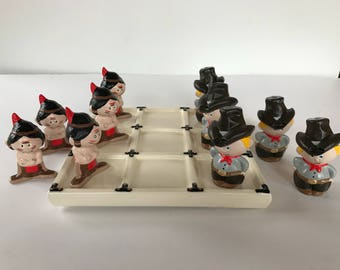 Vintage Ceramic Tic Tac Toe Cowboys and Indians Set