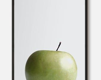 Apple Wall Art, Fruit Print, Fruit Poster, Green Apple Artwork, Apple Modern Art, Kitchen wall art, Minimalist Decor, Pink Decor, Digital