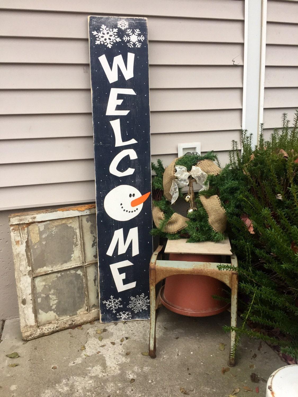 Welcome Snowman Snowman Wooden Sign Front Porch Decor