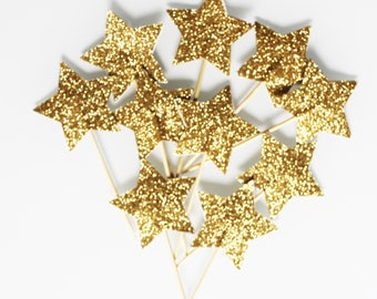 10 cupcakes (cupcake toppers) Star toppers gold glitter - Christmas Decor