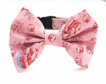 Cupcake Dog Collar, Fun Dog Collar, Girl Dog Collar, Pink Dog Collar, Wedding Collar, Dog Collar, Dog Bow Tie Collar, Dog Bow Tie