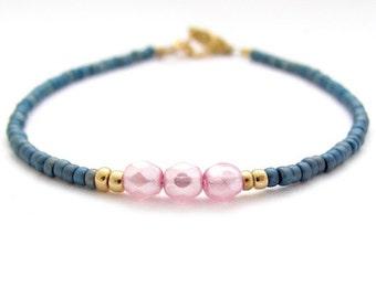 Blue Beaded Bracelet, Pearl Seed Bead Bracelet, Lilac Pearl Dainty Petite, Teen Tween Woman, Friendship Bracelet,  Zen Yoga Bridesmaid Gift