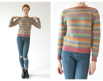 50s Pastel Metallic Sweater- Grecian Coil, Multicolor, 1950s Sweater Small vintage