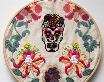 Skull Calavera -Hoop art