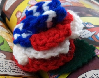 Crocheted Rose Hair Clip - Red, White, and Blue (SWG-HC-HEAM02)