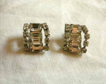 1950s Rhinestone Glam Statement Earrings, Ciip On, Vintage Items, Bling, Evening Wear, Special Event