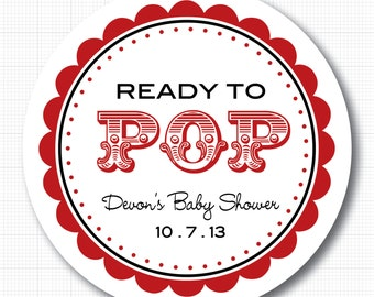 Personalized Ready to Pop (carnival) Baby Shower Stickers or Tags