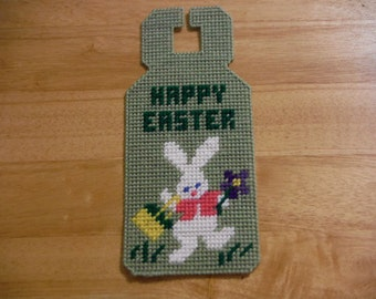 Easter, Welcome Sign, Door Knob, Easter Bunny, Easter Decor, Kids, Gift, Plastic Canvas, Needlepoint, Bunny, Easter Basket, Girl