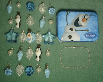 Disney Frozen Do You Want to Build a Snowman Advent Calendar Count Down to Christmas Charm Bracelet Olaf Snowball Ice Star Tin Trinket Box